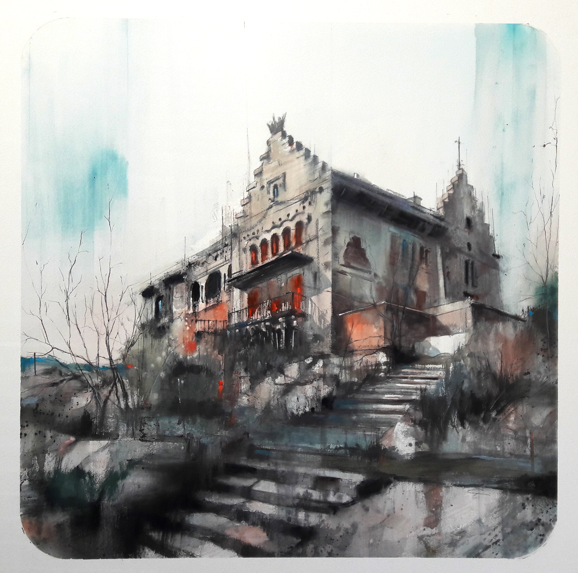 House On The Hill 80x80cm