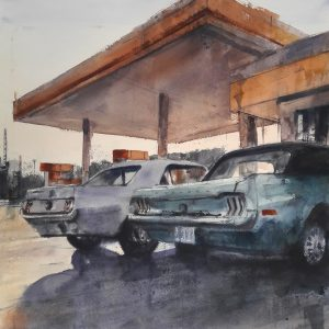 Two Mustangs 50x50cm